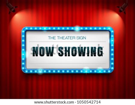 theater sign on curtain with spotlight vector illustration #1050542714