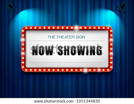 theater sign on curtain with spotlight vector illustration  #1051344830