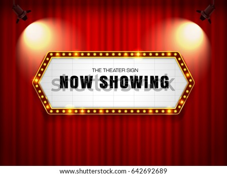 theater sign on curtain with spotlight vector illustration #642692689
