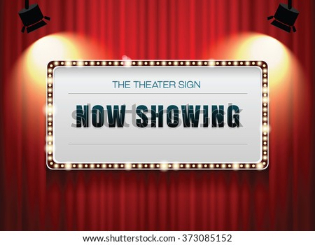 theater sign or cinema sign on curtain with spot light,frame,border #373085152