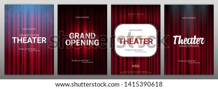 Theater stage. Red curtains stage, theater or opera background with spotlight. Festival night show banner