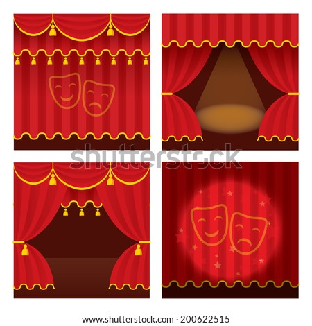 theater stage set with opened