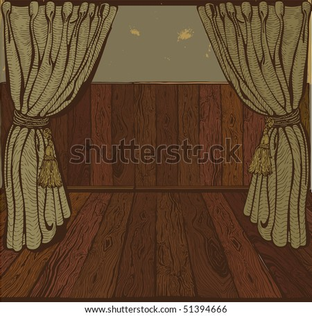 Theater stage.Vintage drawing. Vector