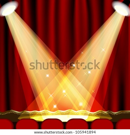 Theater stage  with red curtain. Clipping Mask. Mesh. EPS10
