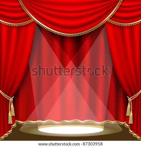 Theater stage  with red curtain. Clipping Mask. Mesh.EPS10.