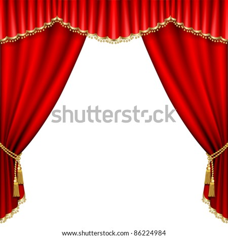 Theater stage  with red curtain. Isolated on white. - stock vector