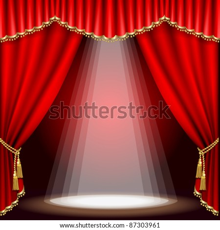 Theater stage  with red curtain. Mesh.EPS10.