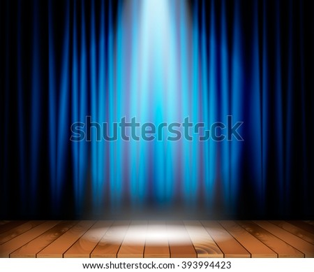 Wood Stage On Colorful Background