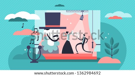 Theater vector illustration. Flat tiny stage performance persons concept. Opera, circus or musical entertainment show culture. Actor with costume in spotlight. Decorations and light cinematography art