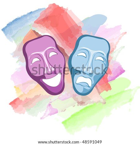 theatre mask clipart. stock vector : theatre comedy