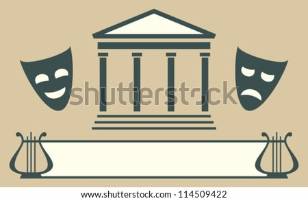 Theatre emblem. Vector icon of masks, colonnade and harp
