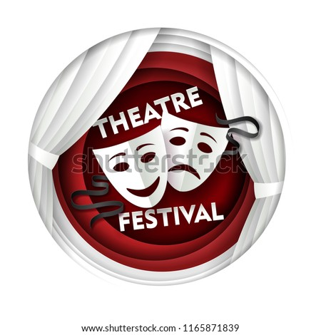 Theatre festival poster banner template. Vector paper cut theater decorations with comedy and tragedy theater masks in circle.