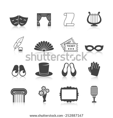 Theatre icon set black with mask curtain scroll harp isolated vector illustration