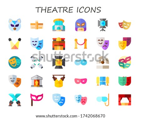 theatre icon set. 30 flat theatre icons.  Simple modern icons such as: mask, tate modern, siam paragon, spotlight, theater, velvet, home cinema, masks, culture Zdjęcia stock ©