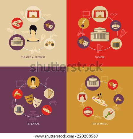 Theatre icons set flat with theatrical premiere rehearsal performance isolated vector illustration