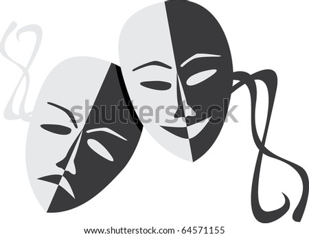 Theatre masks lucky sad - illustration