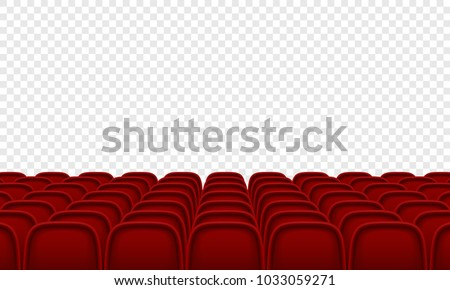 Theatre or movie citema seat hall. Vector red seat chair in conference auditorium room. Row cinema seat illustration