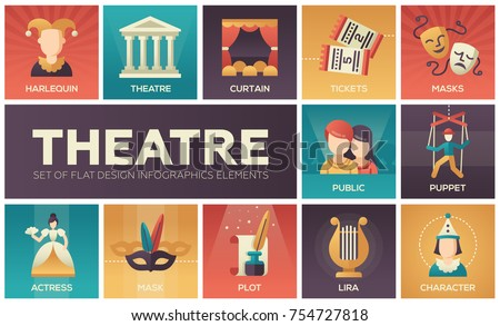 Theatre - set of flat design infographics elements. Colorful collection of square icons. Cultural concept. Harlequin, curtain, tickets, masks, public, puppet, actress, plot, lira, character