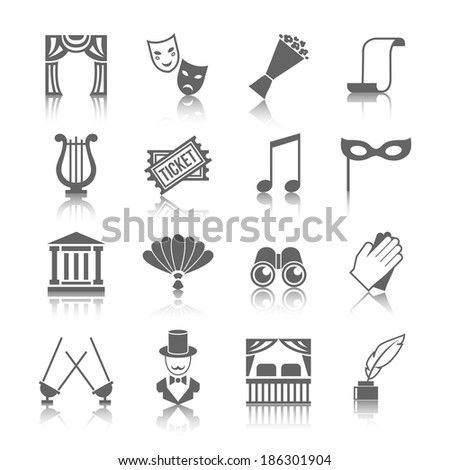 Theatre vector icon set grey with reflection