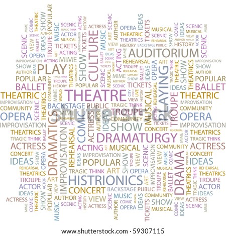 THEATRE. Word collage on white background. Illustration with different association terms. - stock vector