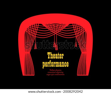 Theatrical emblem with  curtain. Suitable for theatrical program, typographic poster,   performance announcements.  Stock photo ©