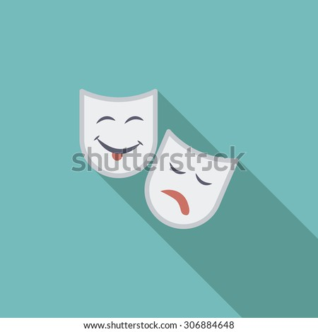 theatrical mask icon flat