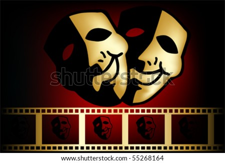 Tragedy And Comedy. stock vector : theatrical mask of tragedy and comedy vector