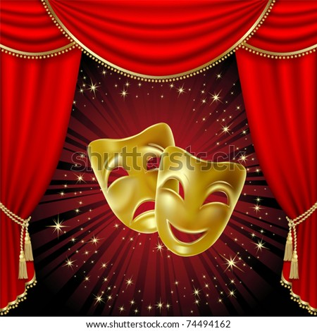 stock vector : Theatrical mask on a red background. Mesh. Clipping Mask