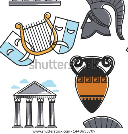 Theatrical masks and gladiator helmet amphora and pillars seamless pattern vector harp and metal headgear vase and Olympic Gods pantheon endless texture Greek symbols and attractions wallpaper print.