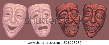 Theatrical masks, Comedy and tragedy. Design set. Hand drawn engraving. Editable vector vintage illustration. Isolated on color background. 8 EPS Stockfoto ©