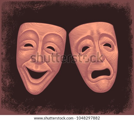 theatrical masks hand drawn
