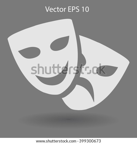 Theatrical masks laughter and crying vector illustration - Shutterstock ID 399300673