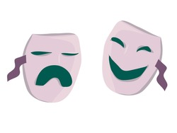 theatrical masks of comedy and tragedy, classical theater. emotions of masks: sadness, anger and joy, fun. doodle isolates. vector