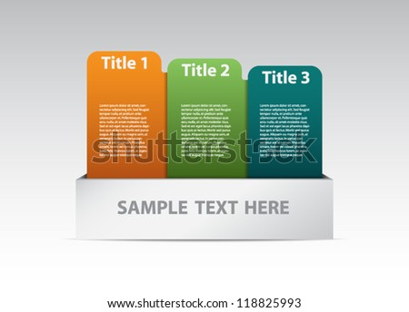 Thee colorful banners in a box for step presentation, infographics or business design