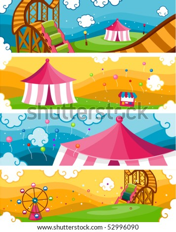 Theme Park Banners - Vector