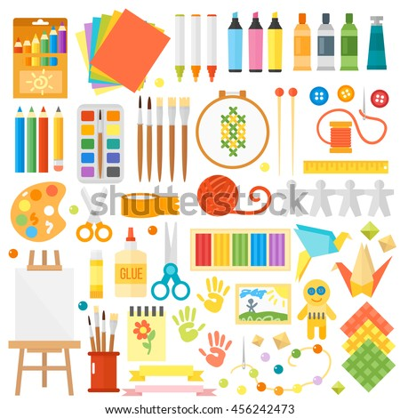 Themed kids creativity creation symbols art poster in flat style vector
