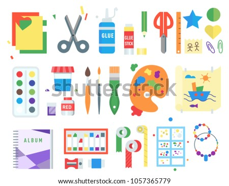 Themed kids creativity creation symbols poster in flat style with artistic objects for children art school fest unusual toys vector illustration.
