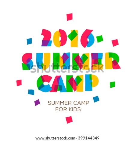 Themed Summer Camp 2016 poster in flat style, vector illustration.