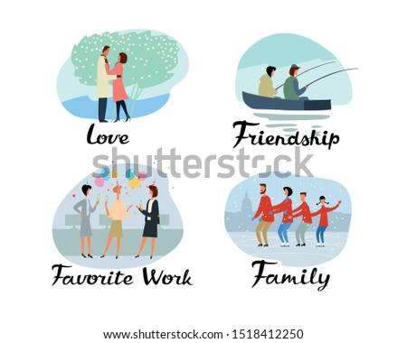 Themed vector stories. Love, Friendship, Favorite job, Family