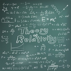 Theory of relativity and physics law mathematical formula equation, doodle handwriting icon in blackboard background with hand drawn model, create by vector