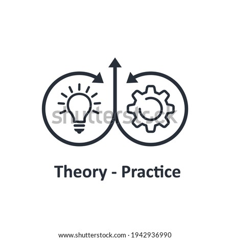 Theory practice symbol. Vector linear icon isolated on white background. ストックフォト ©