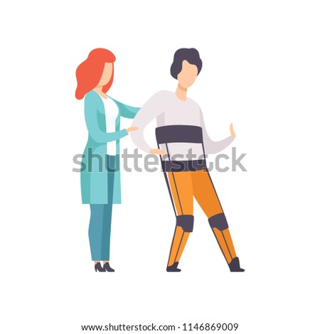 Therapist working with disabled man using orthopedic rehabilitation suit, medical rehabilitation, physical therapy activity vector Illustration