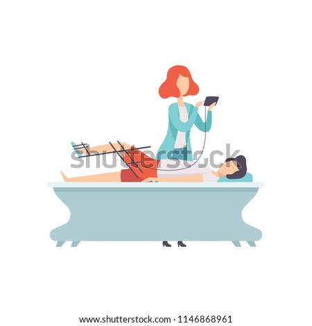 Therapist working with disabled patient and orthosis medical equipment, medical rehabilitation, physical therapy activity vector Illustration