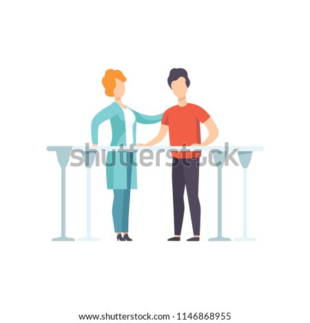 Therapist working with disabled patient using parallel bars, medical rehabilitation, physical therapy activity vector Illustration