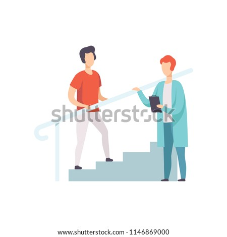 Therapist working with male patient climbing the stairs, medical rehabilitation, physical therapy activity vector Illustration
