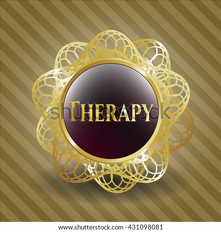 Therapy gold badge or emblem