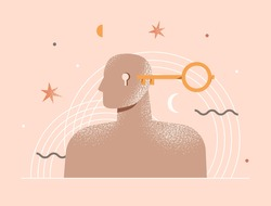 Therapy, psychotherapy, psychology concept. Open mind. Human head with a keyhole and key. Philosophy metaphor, personality. Abstract modern illustration about mental health. Isolated vector design