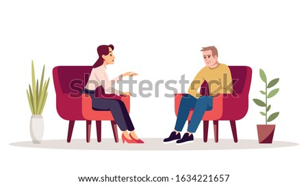 Therapy session semi flat RGB color vector illustration. Interview. Meeting. Couple in armchairs. People having conversation in cozy room. Psychology consultation. Isolated cartoon character on white Foto d'archivio ©