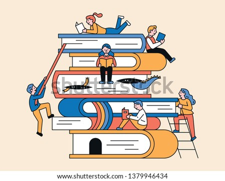There are huge books piled up and small people are reading books around. flat design style minimal vector illustration