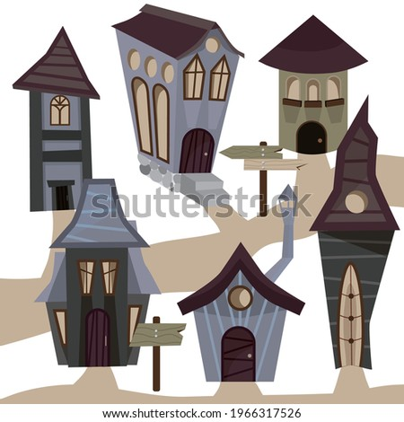 There are many unusual and interesting houses here. Drawn city. Earthy colors. Vector illustration for website, books, banners. T-shirt with a print. The property. Fairytale